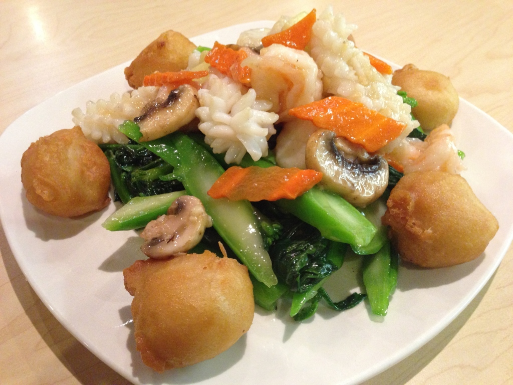 Shrimp, Scallop & Squid with Chinese Vegetable Surrounded by Fried Milk Puff